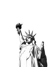 Engraving Liberty Illustration Isolated On White BG