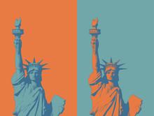 Engraving Liberty Illustration On Green And Orange BG
