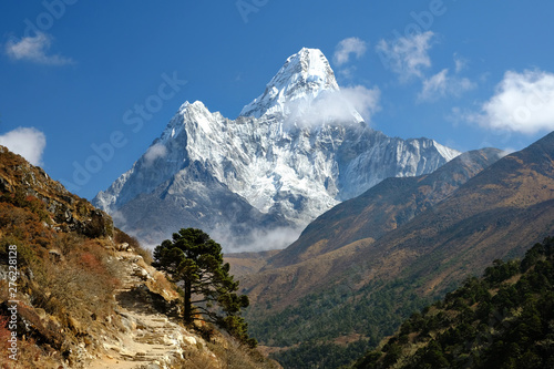 View of Ama Dablam on the trekking to Everest Base Camp, Nepal
