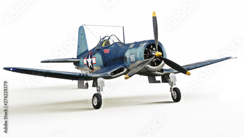 Fotografie, Obraz  Vintage allied aircraft fighter plane on a white isolated background