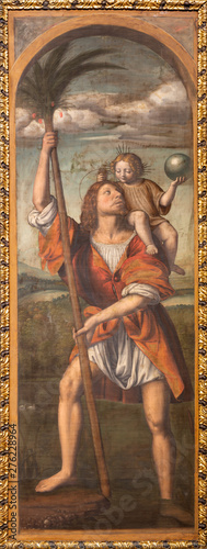 COMO, ITALY - MAY 8, 2015: The painting St. Christhopher in Duomo by Bernardino Luini (1481- 1532).