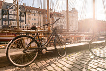 A Bike Parked On Nyhavn, The Historic Harbour, Copenhagen, Denmark