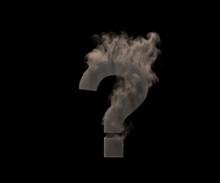 Question Mark Of Dark Smoke Or Fog Isolated On Black Background, Artistic Halloween Font - 3D Illustration Of Symbols