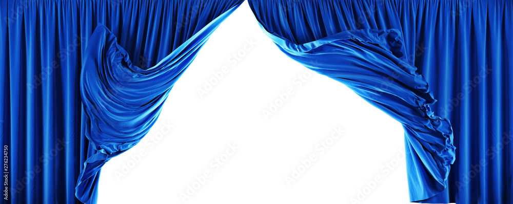 Fototapeta Theater velvet curtains isolated on white background. Clipping path included