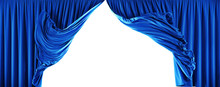 Theater Velvet Curtains Isolated On White Background. Clipping Path Included