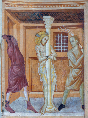COMO, ITALY - MAY 9, 2015: The old fresco of Flagellation of Jesus in church Basilica di San Abbondio by unknown artist