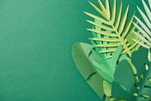Top View Of Tropical Paper Cut Palm Leaves On Green Background With Copy Space