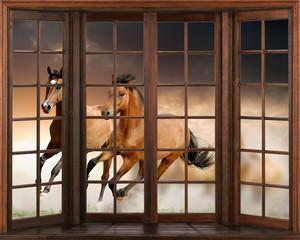 Panel Szklany Podświetlane Otwarte okna 3d wallpaper, Horses running, 3D window view decal wall sticker