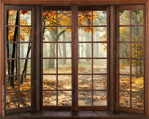 Foto auf Leinwand Dunkelbraun 3d window view. Beautiful view of nature from the window. autumn landscape.