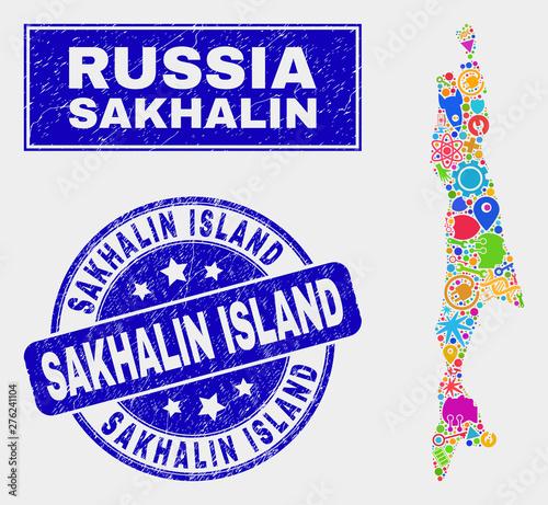 Mosaic technology Sakhalin Island map and Sakhalin Island ...