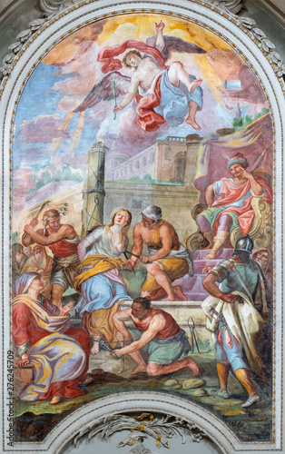 CATANIA, ITALY - APRIL 7, 2018: The fresco of Martyrdom of St. Agata in church Chiesa di San Benedetto by Giovanni Tuccari (1667–1743).