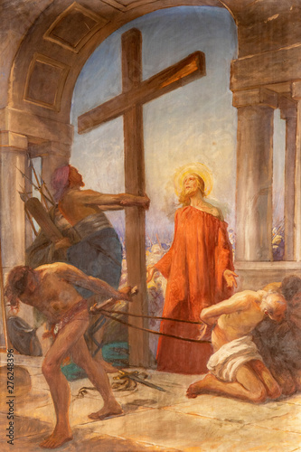 COMO, ITALY - MAY 8, 2015: The painting Jesus carries His cross in church Santuario del Santissimo Crocifisso as the part of Via Crucis by Pnziano Loverini (1917).