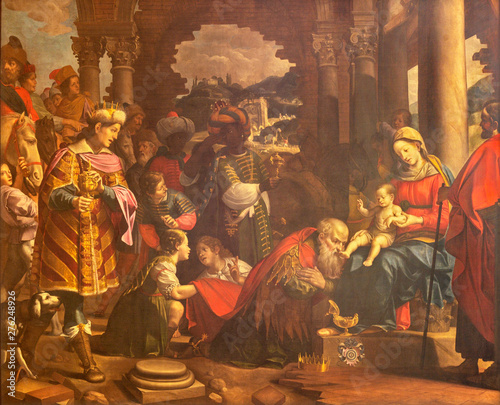 COMO, ITALY - MAY 8, 2015: The painting Adoration of the Magi in Duomo.