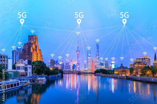 Modern city with wireless network connection concept,Shanghai