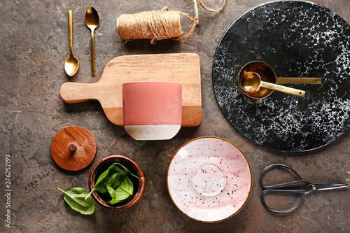 Valokuva  Set of kitchenware on grey background