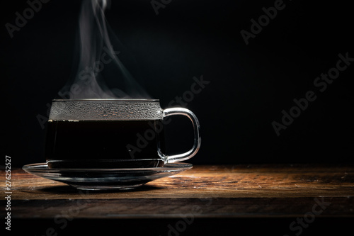 Steaming Coffee Cup with Copy Space Right