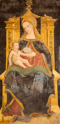 COMO, ITALY - MAY 8, 2015: The detail of fresco of Madonna in church Basilica di San Fedele by Andreas de Magistris 1504.