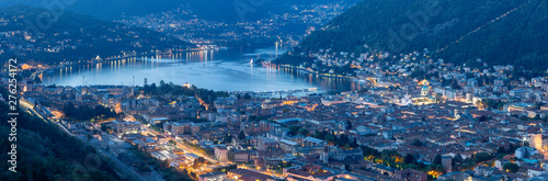 Fotografija Como - The panorama of the City with the lake Como at dusk.
