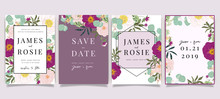 Summer Flower Wedding Invitation Set, Floral Invite Thank You, Rsvp Modern Card Design In Pink Floral With Leaf Greenery  Branches Decorative Vector Elegant Rustic Template