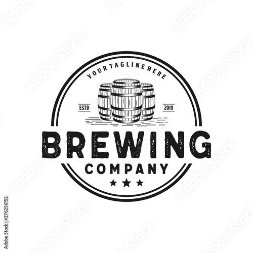 Valokuva Brewing company with barrel badge vintage logo