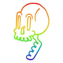 Rainbow Gradient Line Drawing Cartoon Green Skull
