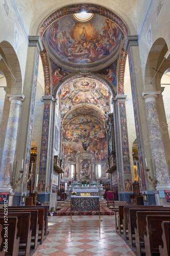REGGIO EMILIA, ITALY - APRIL 12, 2018: The church Basilica di San Prospero with the Last Judgment fresco in main apsida of by Camillo Procaccini (1585 - 1587).
