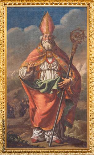ZARAGOZA, SPAIN - MARCH 2, 2018: The baroque painting of St. Gregory the Great in church Iglesia de la Exaltación de la Santa Cruz by José Luzán (1710 - 1785).