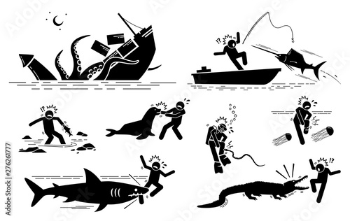 Sea animals and underwater creatures attack human icons signs symbols Wallpaper Mural