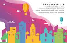 Beverly Hills Washington City Building Cityscape Skyline Dynamic Background Illustration