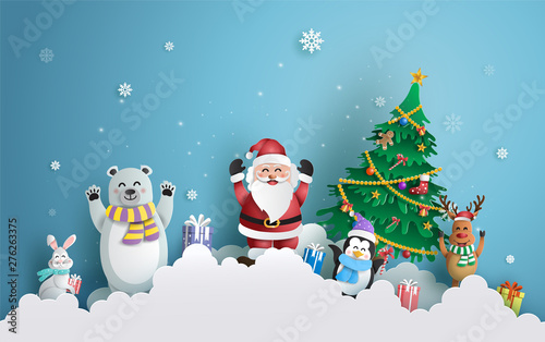 Photo sur Toile Piscine Paper art style of Santa Claus and friends with Christmas tree and snowflake background, Merry Christmas and Happy New Year concept.
