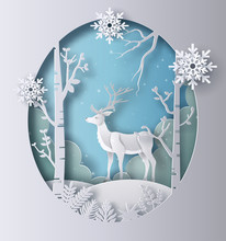 Paper Art Style Of A Reindeer ...