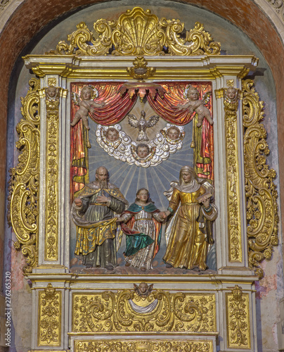 SALAMANCA, SPAIN, APRIL - 16, 2016: The carved baroque polychrome relief of St. Joachim, St. Ann and Virgim Mary in New Cathedral (Catedral Nueva) by unknown artist.