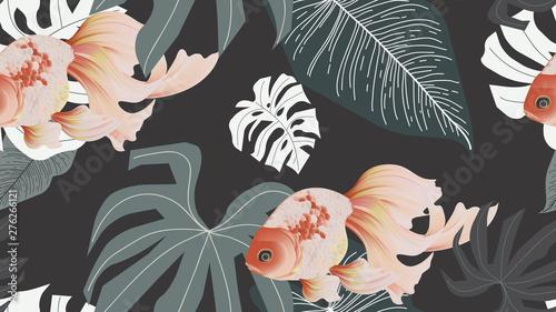 Botanical seamless pattern, pink lotus flowers and goldfish on dark grey background, pastel vintage style