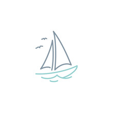 Simple Sailboat Dhow Ship Line...