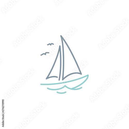 Foto Simple Sailboat dhow ship line art logo design