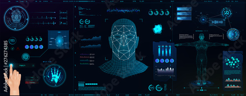 Hi-tech Biometric Identification and recognition system of person Canvas Print