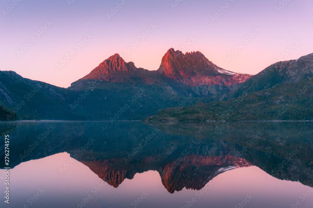 Fototapety, obrazy: Mountain landscape at sunrise. Sunlit mountain peaks nature background