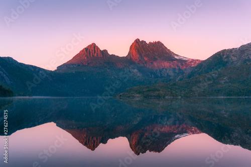 Fototapeta Mountain landscape at sunrise. Sunlit mountain peaks nature background obraz