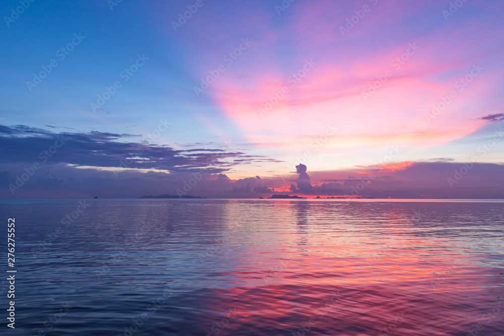 Fototapety, obrazy: Beautiful tropical pink blue sea  sunset and yellow clouds background
