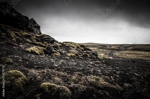 Fotografia  Stony rocky desert landscape of Iceland. Toned