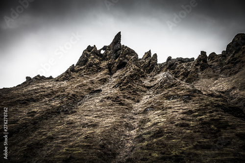 Montage in der Fensternische Grau Verkehrs Stony rocky desert landscape of Iceland. Toned