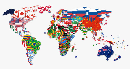 World map and all national ...