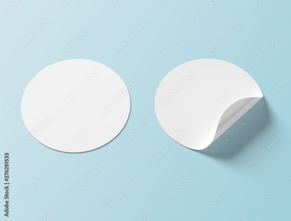 Fototapety, obrazy: Circular sticker mockup isolated on blue background 3D rendering