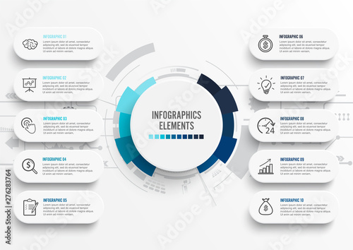Fényképezés Vector infographic template with 3D paper label, integrated circles