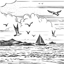 Sketch Seascape With Yachts An...