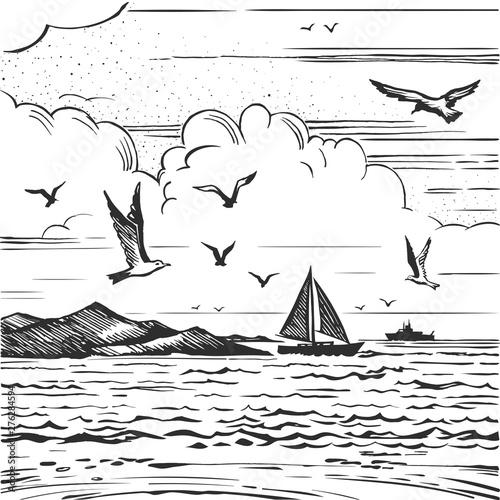 Fototapeta sketch seascape with yachts and seagulls obraz