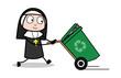 Dragging a Recycle Bin - Cartoon Nun Lady Vector Illustration