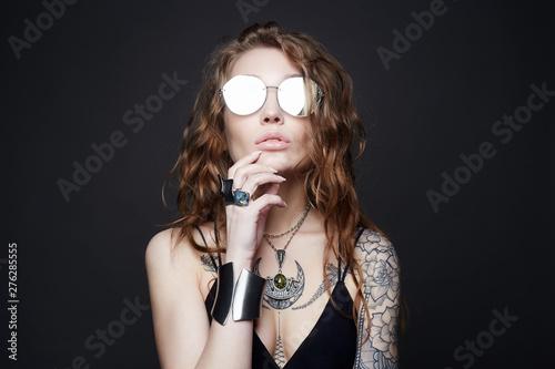 Fotografie, Obraz  fashion portrait of Beautiful sexy woman with tattoo