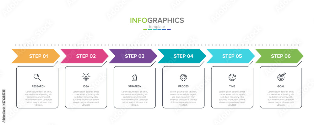 Fototapeta Concept of arrow business model with 6 successive steps. Six colorful rectangular elements. Timeline design for brochure, presentation. Infographic design layout.