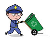 Running with Recycle Bin - Retro Cop Policeman Vector Illustration